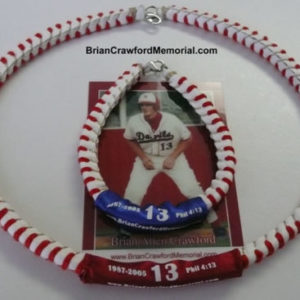 "Phil 4:13 Baseball Lace Necklace. Comes with 18"" Necklace, Baseball Card of Brian Allen Crawford and a Memorial Pamphlet."