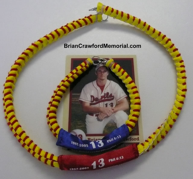 Brian Crawford Memorial Softball Lace Necklace - Phil 4:13